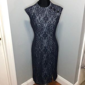 Kay Unger New York Crochet Overlay Dress